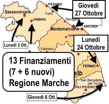 Mappa dei convegni sui bandi Regione Marche